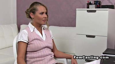Hairy lesbian, Female agent, Hairy blonde, Amateur casting
