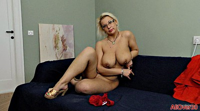 Milf solo masturbation, Glasses