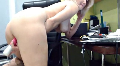 Webcam, Amateur dildo, Office masturbation