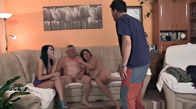 Mature group, Couples, Granny group, Young son, Granny threesome, Girlfriend sex