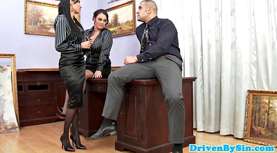 Office anal, Threesome office, Desk, Threesome desk
