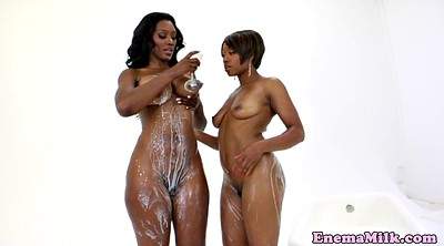 Enema, Milk, Black, Lesbian milk, Enemas, Milk milk