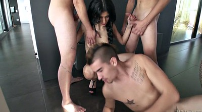 Submissive, Skinny gangbang, Slender, Mouthful