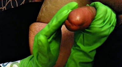 Gloves, Rubber, Glove, Gloves handjob, Green, Glove handjob