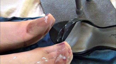 Cum on foot, Stocking foot, Shoes, Shoe fetish