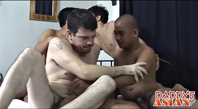Three, Daddies gay, Asian orgy, Group sex, Asian daddy, Trick
