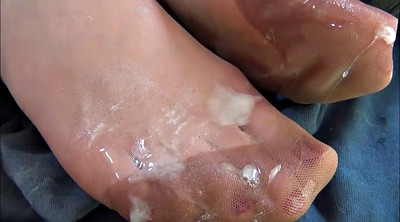 Fetish, Foot stocking, Stockings foot, Cum on foot