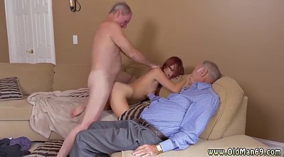 Granny threesome, Young man, Old and young threesome