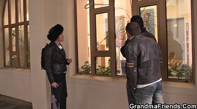 Old woman, Threesome mature, Mature woman, Young and mature