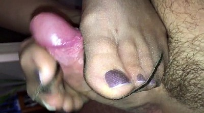 Footjob, Slow, Nylon footjob