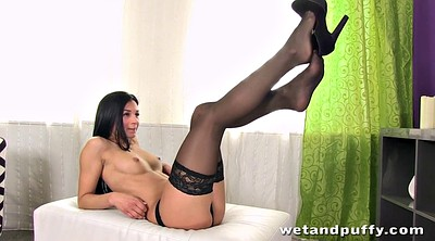 Stockings solo, Stocking masturbation, Ebony solo
