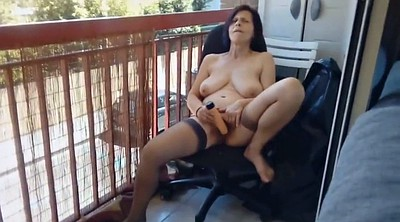 Saggy, Mature masturbating, Balcony