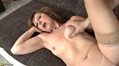 Saggy, Milf stocking, Stocking mom, Mom blowjob