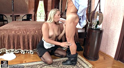 Hungarian, On her knees blowjob