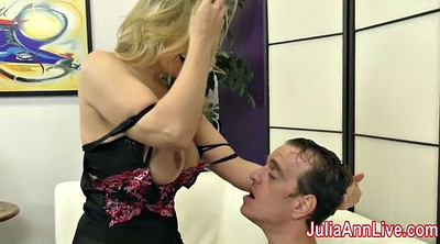Femdom, Julia ann, Stockings, Julia, Footjob stockings