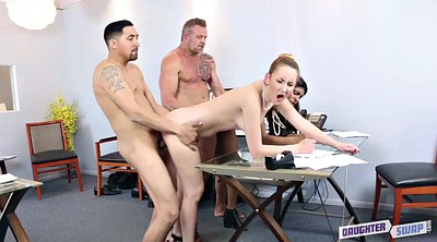 Foursome, Swapping, Office sex, Dad sex