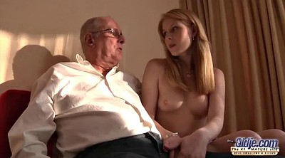 Grandpa, Old grandpa, Young girl, Teen licking
