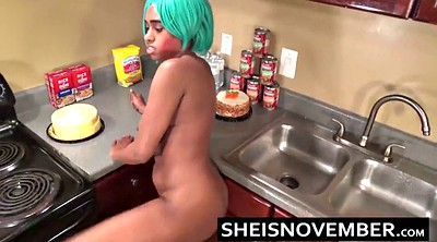 Sister, Kitchen, Fucking sister, Ebony solo, Fucking step sister