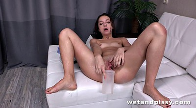 Piss, Pissing, Table, Solo masturbation orgasm, Transparent, Dildo orgasm