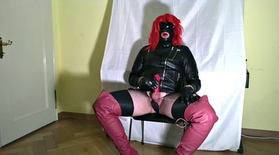 Glove, Crossdresser, Milking, Big milk, Glove handjob, Shemale handjob