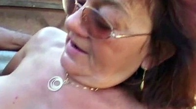 German granny, Mature outdoor, Hairy young