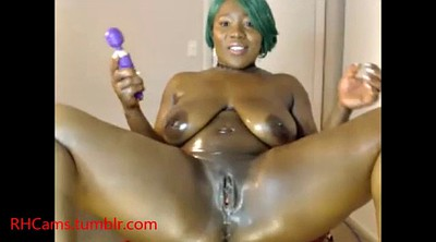 Ride, Thick, Black solo, Ebony dildo, Thick solo, Green hair