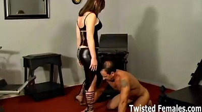 Leather, Kick, Femdom licking, Kick ball, Squeeze, Lick boot