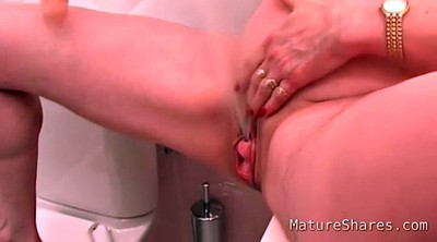 Squirting dildo, Mature solo squirting, Mature solo, Bathroom