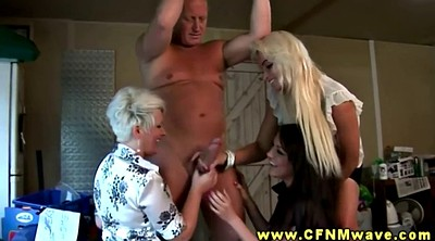 Foursome, Hand, Hand job, Bound, Nudes