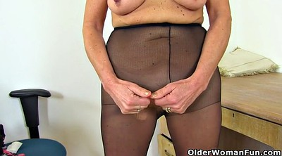 Nylons, English, Granny nylon, Work, British mature