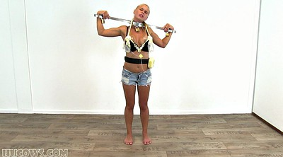 Milking, Tied up, Skinny blond