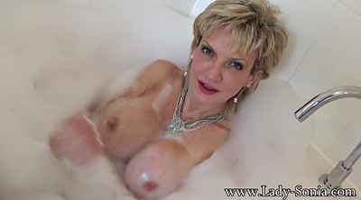 Bathing, Mature blonde