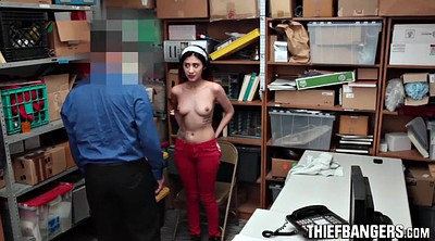 Hairy, Teen thief, Police, Thief, Office fuck