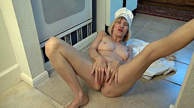 Hairy masturbation, Kitchen, Granny solo, Solo granny
