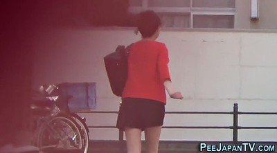 Japanese voyeur, Teen pee, Outside, Japanese public