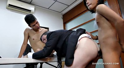 Office threesome, Asian daddy, Old gay, Asian old, Old and young, Old asian
