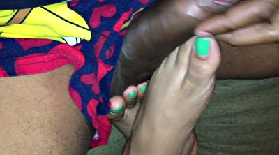 Footjob, Ebony feet, Black femdom, Indian wife