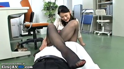 Feet, Nylon, Japanese massage, Japanese handjob, Japanese feet, Masturbation nylon