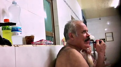 Old gay, Naked public, Hairy shower