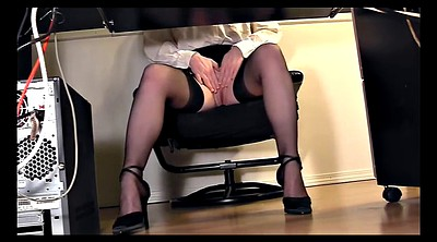 Secretary, Blouse, Skirt, Under desk, Under blouse, Skirt pussy