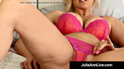 Julia ann, Stockings, Bra, Busty milf, Panty teasing, Anne