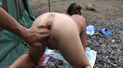 Beach, Asian fist, Gaping pussy, Gape pussy