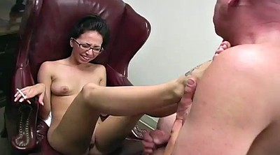 Footjob cumshot, Office feet
