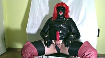 Crossdresser, Gloves, Glove handjob, Gay handjob, Black shemale