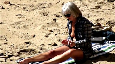 Spy, Beach, Spying, Saggy tits, Busty granny, Mature compilation