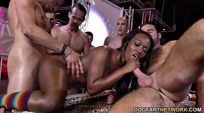 Ebony shower, Interracial gangbang