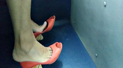 Bus, Hidden, Foot job, Candid, Foot feet, Sexy feet
