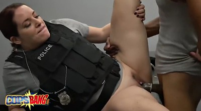 Police, Uniform, Busty doggy, Big cock black