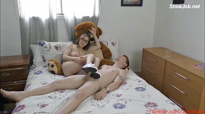 Footjob, Solo girl, Feet solo, Excited