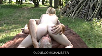 Granny solo, Russian old, Young blonde, Old young threesome